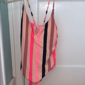 Stripped one piece bathing suit
